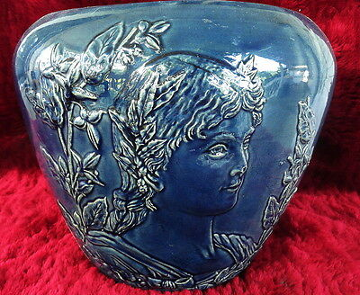 SUPERB WELLER POTTERY LARGE JARDINIERE FACES FIGURES NEO CLASSICAL