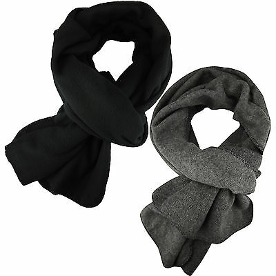 New Mens Scarf Winter Wrap Plain Soft Fleece Long Scarves Warm Black Grey Ski