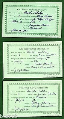 LOT OF 3 GIRL SCOUT BADGE 1950's CERTIFICATES - FREE SHIPPING