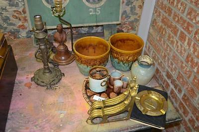 Misc group lot- lamps,pots,majolica