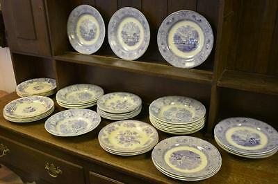 Lot of purple transferware