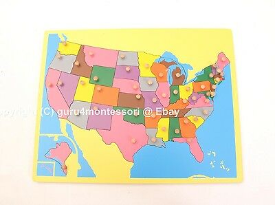 NEW Montessori Geography Material- Small Board Puzzle Map of  USA