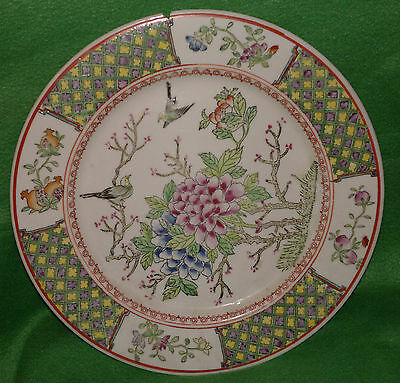 "Decorative Oriental Ironstone Hand Painted Plate Made in Macau 10"" Birds Flowers"