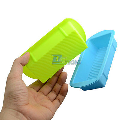 New 5Pcs Rectangle Ice Cube Soap Bread Pastry Silicone Mold Bakeware Wave Bottom