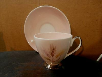 QUEEN ANNE PINK WHEAT PATTERN CUP AND SAUCER