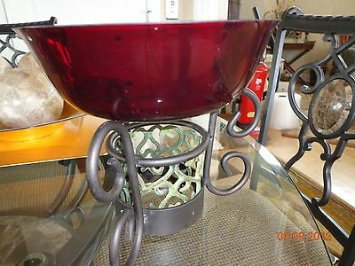 """Ruby Red Bowl 8-3/4"""" d x 2-1/2"""" h wrought iron Stand green. 5-1/2"""" x 7-1/2"""""""