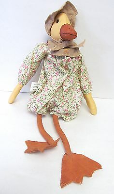 """DUCK VINTAGE 17"""" HAND CRAFTED 100% COTTON STUFFED PLUSH DOLL - VERY CUTE!"""