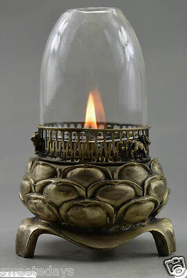 Collectible Decorated Old Handwork Tibet Silver Carved Lotus Oil Lamp