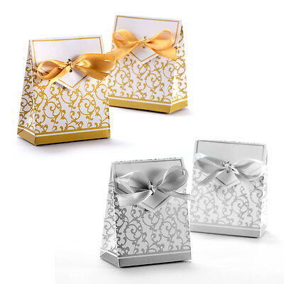 50pcs Candy Boxes With Ribbon Wedding Party Favor Gift Box Silver Gold