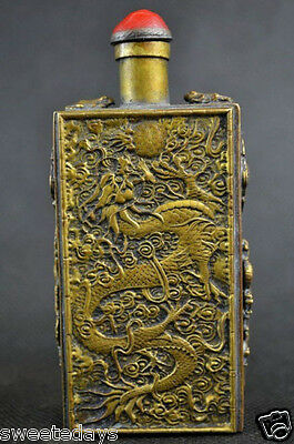 Collectibles Decorated Handwork Old Copper Carving Dragon Phoenix Snuff Bottle