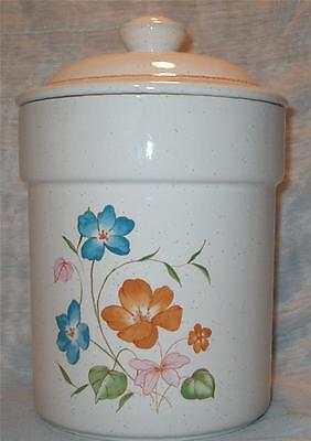 Vtg Treasure Craft Poppy Poppies Orange Blue Flowers Storage Canister With Lid