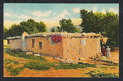 New Mexico Indian Jacals Mud Hut...circa 1940s Postcard....#607