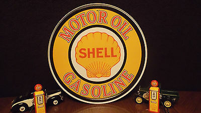 SHELL MOTOR OIL GASOLINE Round Tin Sign Vintage Gas Pump Garage Wall Decor Signs