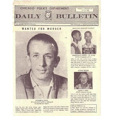 rare Chicago Police Daily Bulletin July 17, 1966—Richard Speck wanted for murder