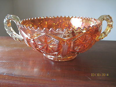 Vintage Clear Marigold Star n File Two Handle Nappy Serving Bowl Imperial Glass