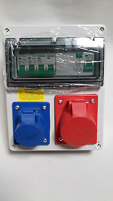 Garage Hook Up,RCD Wall mounted Industrial CEE Socket.3 phase distribution board