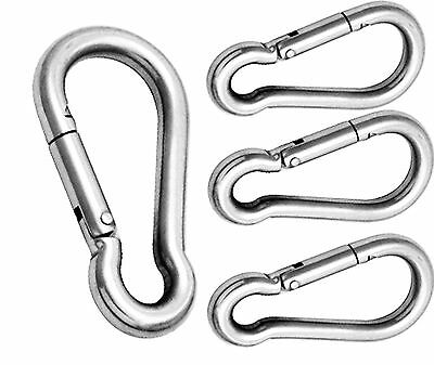 STEEL CARABINER Small Snap Spring Clip Hook KARABINER CAMPING HIKING HEAVY DUTY