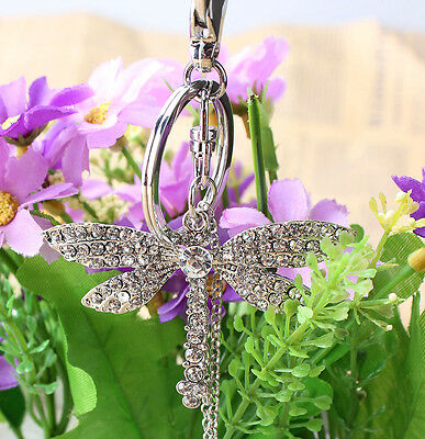 Dragonfly Angel Wing Bead Lovely Pendant Charm Crystal Purse Bag Key Ring Chain