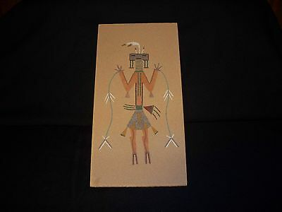 SANDPAINTING BY TSUSIE YAZZIE TITLE POLLEN BOY CARRY TOSSED RAIN BOW BAR STRING