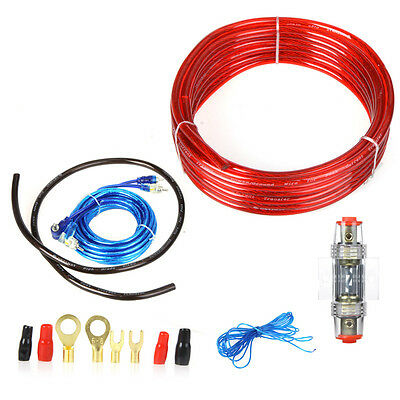 1500W 8GA Car Audio Subwoofer Amplifier Installation Wiring Wire Amp Cable Kit