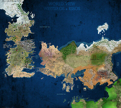"""GAME OF THRONES World View Westeros & Essos Map Fabric poster 32""""x24"""