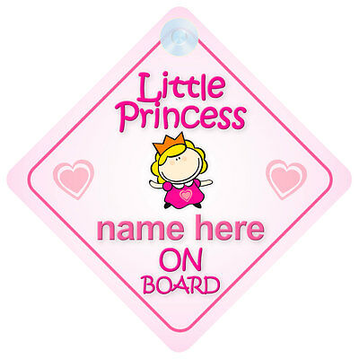 Little Princess On Board Personalised Baby Car Sign