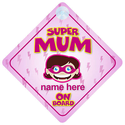 Superhero Mum On Board Funny Gift Car Sign Mommy/Mom