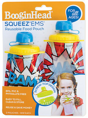 Booginhead Screw Top Squeez'Ems Kids Reusable Refillable Homemade Food Pouch 6oz