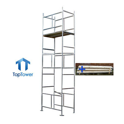 "5.5m DIY Scaffold Tower + Boards (4' x 2'6"" x 18' Working Ht) Galvanised Steel"