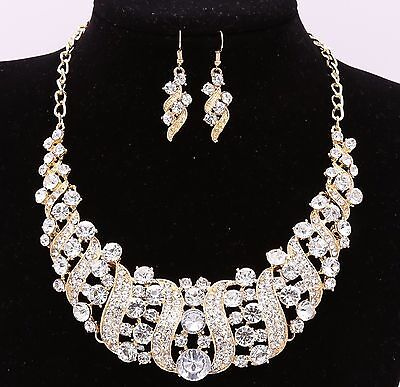Bridal Wedding Party Jewelry Set Crystal Rhinestone Diamante Necklace Earrings