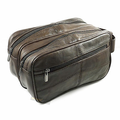 Dark Brown LEATHER WASH BAG 3 zipped sections cowhide toiletries bag travel