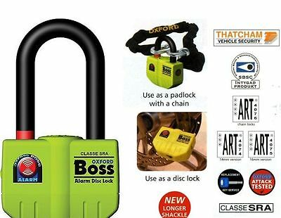 Oxford Boss Alarm Thatcham Motorcycle DiscLock OF3 14mm Shackle BC16291 Yellow T