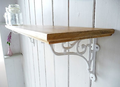 Vintage Style Solid Pine Country Home Single Shelf - Shabby Chic White Brackets