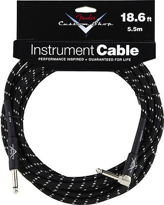 New Fender Custom Shop 18.6 Ft Right Angle Black Tweed Instrument Guitar Cable!
