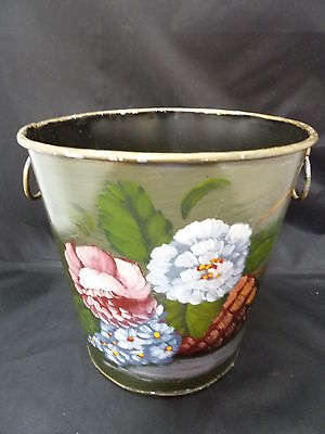 "Hand Painted DISTRESSED Tin Bucket Pail FLOWERS FLORAL HANDLES 7""h X 7.25"" W"