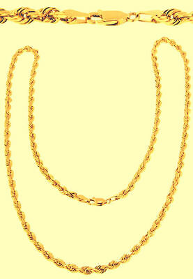 """14k  Yellow Gold Rope Chain Diamond Cut Hollow 2.5mm 18"""" 14kt Necklace Chain"""