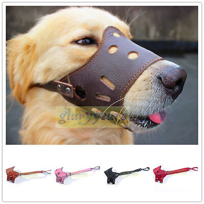 Cool Dog Comfy Real Genuine Leather Muzzle Bite Bark Prevent Mouth Mask Cover