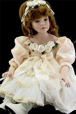 PORCELAIN DOLL CREAM DRESS COLLECTIBLE 28'' H LIMITED EDDITION