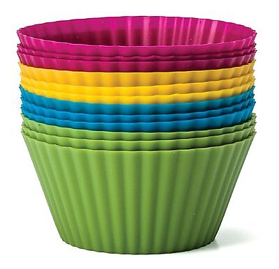 Baking Essentials 12 pc Colorful Silicone cupcake Molds/Holder GREAT GIFT IDEA!