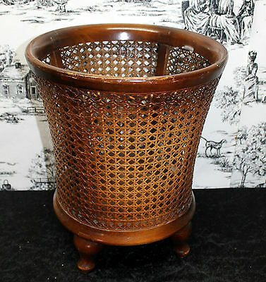Antique basket bucket by desk Chippendale style Vienna straw very nice