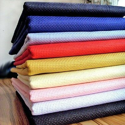 Large Cross Stitch Cotton Aida Fabric,Your choice of Colors & Size 14ct, 11ct