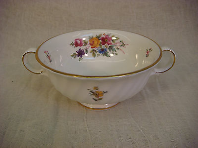 MINTON MARLOWE SET OF 5 FOOTED CREAM COUPE SOUP BOWLS HANDLES S-309 ENGLAND