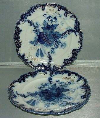 """S&t  Rs  Prussia  Two 7-3/4""""  Cobalt Blue Plates , Green Steeple Mark"""