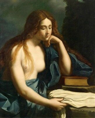 Oil painting beautiful young woman seated by table with her white dress and book