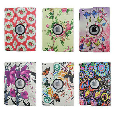 Auto Wake/Sleep Unique Butterfly Flower 360 Rotating Leather Case Cover for iPad