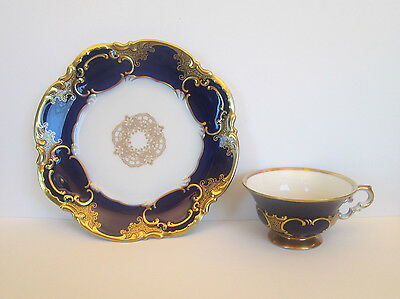 Stunning Cobalt and Gold Plate and Cup, Hutschenreuther Selb