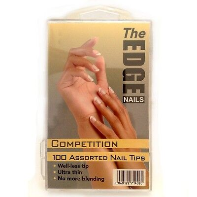 The Edge Box 100 Competition Natural Well-Less Nail Tips + Curved Zebra File