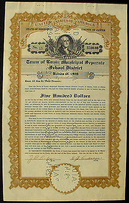 USA Town of Louin Municipal Separate School District 500 Dollar bond 1928