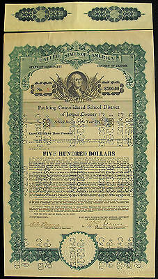 USA Paulding Consolidated School District  of Jasper County 500 Dollar bond 1927