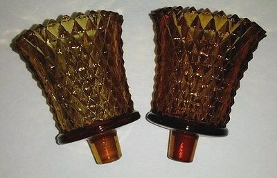 2 Piece Vintage Amber Brown Pressed Diamonds Points Glass Candle Votives